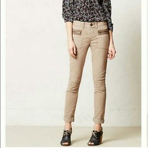 Anthropologie Pilcro Twill Moto Zip Skinnies